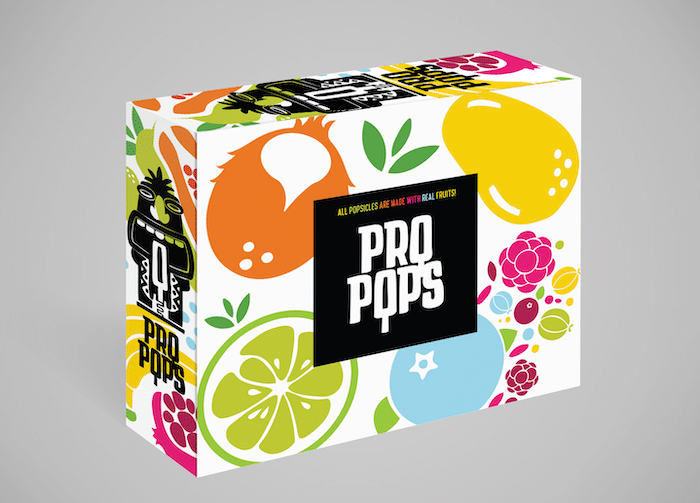 package design of pro pops with bold patterns